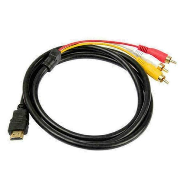 HDMI-hane till 3 RCA-videoljud AV-adapterkabel HDTV 1080
