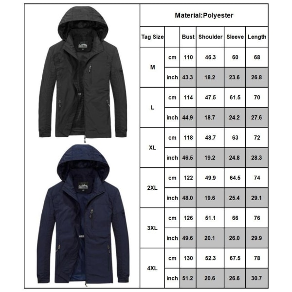 Hooded Multi-pocket Coat Lightweight Outdoor Jacket black 2XL