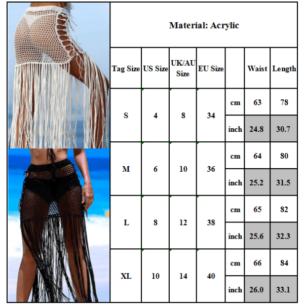 Damstrandkjol Fringe Sexig kjol Cool andningsbar sommarkläder