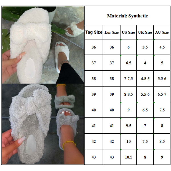 Ladies Bow Flat Sandals Plush Slippers Grey 43