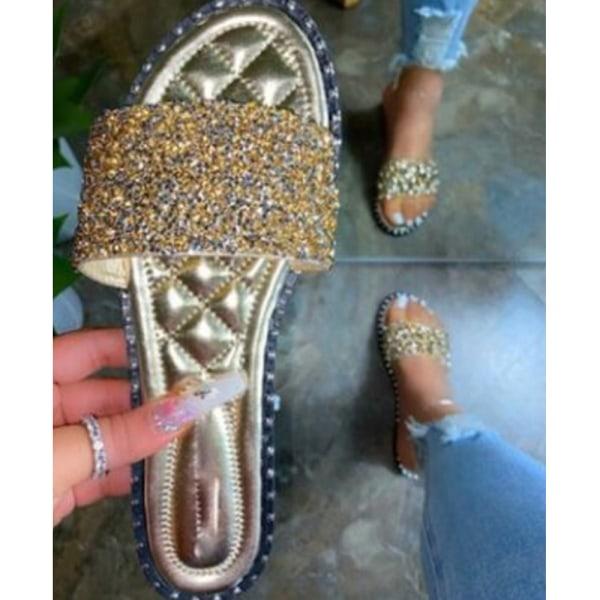 Ladies Diamante Fashion Sliders Sandals Holiday Slip On Mules Gold 39