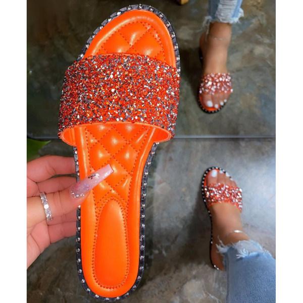 Dam Diamante Fashion Sliders Sandaler Holiday Slip On Mules Orange 38