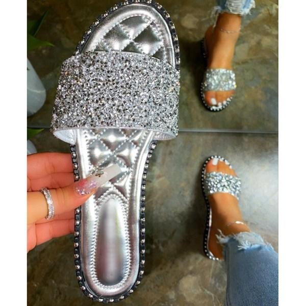 Ladies Diamante Fashion Sliders Sandals Holiday Slip On Mules Silver 39