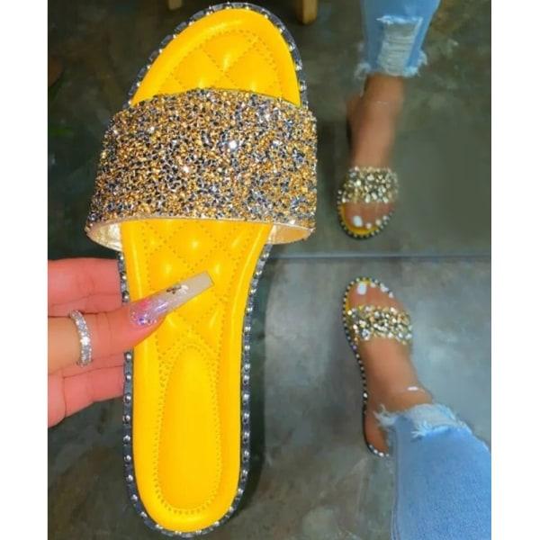 Ladies Diamante Fashion Sliders Sandals Holiday Slip On Mules Yellow 37
