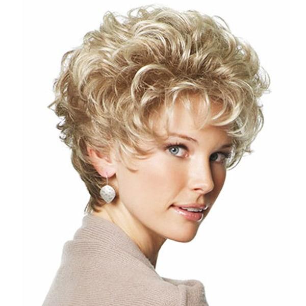 Dam fashionabla fluffiga kort lockigt hår syntetisk peruk