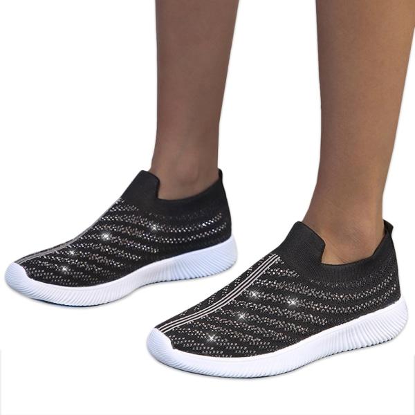 Ladies Flat Heel Diamond Sneakers Running Shoes Outdoor Fitness Black 42