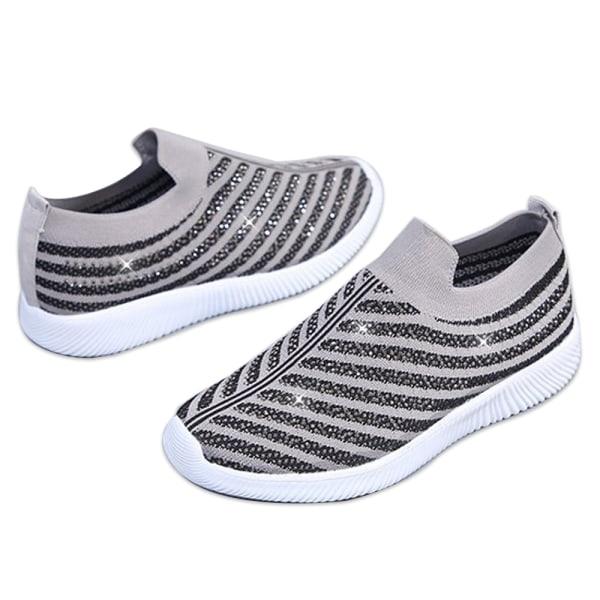 Ladies Flat Heel Diamond Sneakers Running Shoes Outdoor Fitness Grey 42