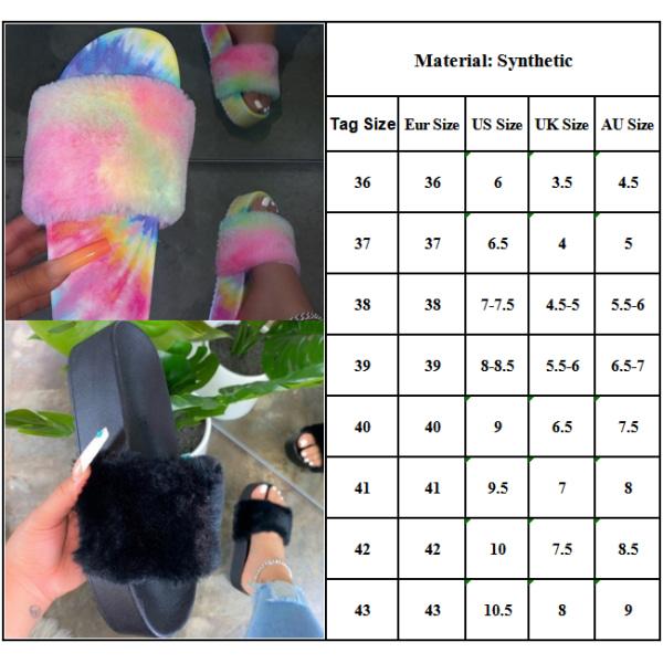Ladies Flat Heel Platform Plush Slippers Home Shoes Bedroom Black 41