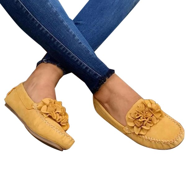 Ladies Flower Single Shoes Casual Walking Yellow 39