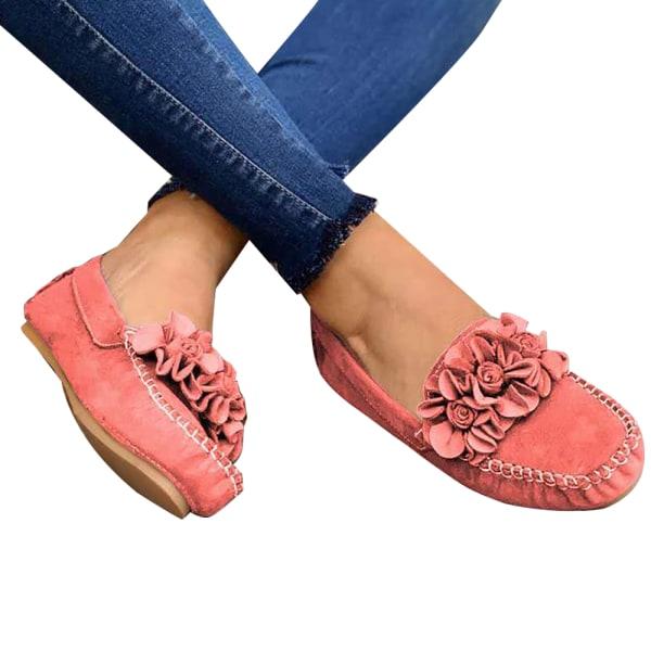 Ladies Flower Single Shoes Casual Walking Pink 41