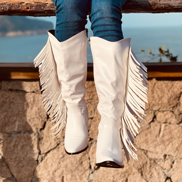 Ladies Fringed Thick Heel Boots Casual Shoes White 37