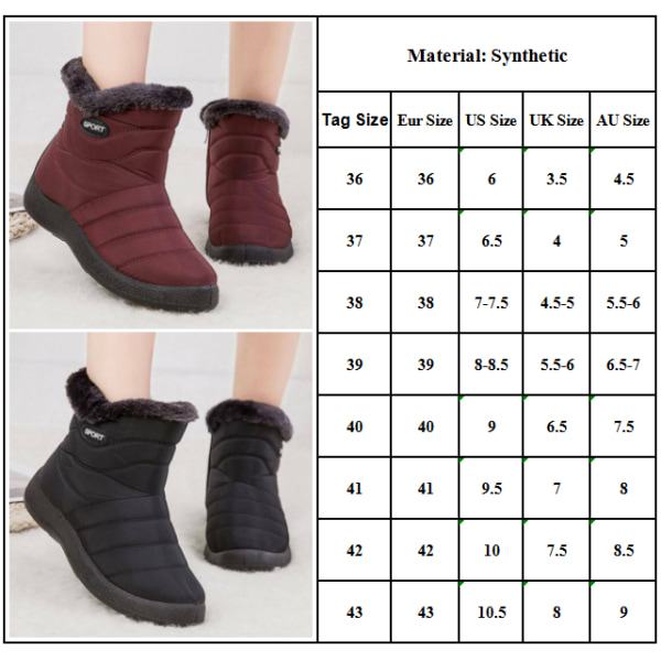 Ladies Fur Lined Snow Waterproof Ankle Zip Flat Casual Shoes Red 36