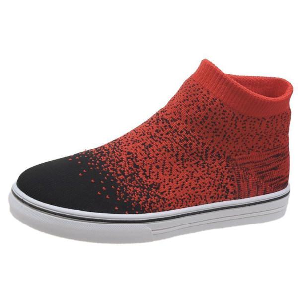 Ladies Gradient Color Socks Shoes Casual Skor Red 41