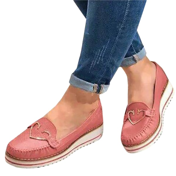 Ladies Heart Shaped Sponge Cake Thick Flat Heel Casual Shoes Ping 40