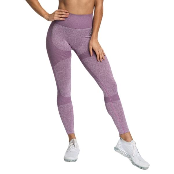 Mjukstickad höftyoga-byxor, dam med hög midja, sportfritid Light purple L