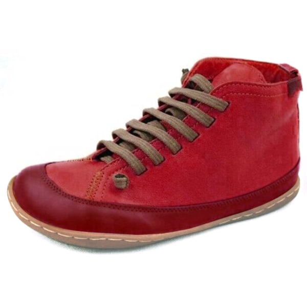 Women Low Heel Ankle Boots Ladies Flat Lace Up Booties Shoes Red 40
