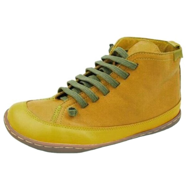 Women Low Heel Ankle Boots Ladies Flat Lace Up Booties Shoes Yellow 39