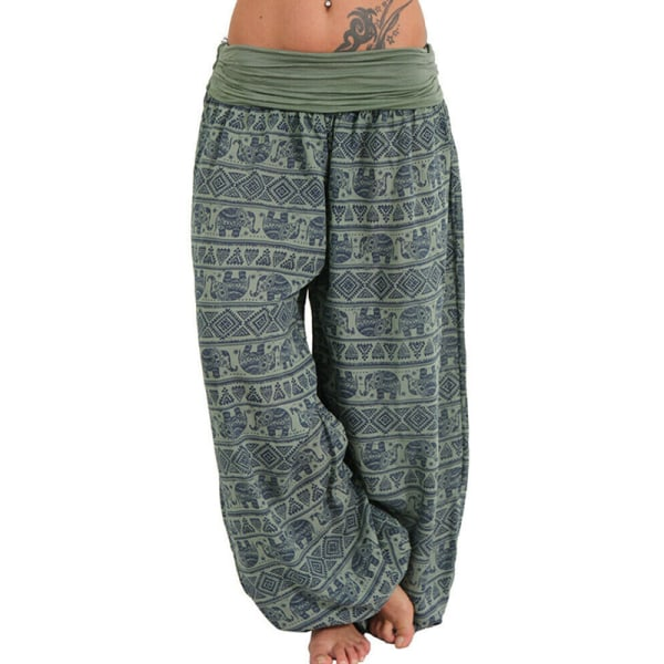 Ladies Loose Printed Wide-leg Pants Casual Trousers Harem Pants Green XXL