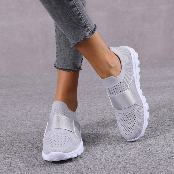 Women Mesh Breathable Sneakers Trainers Soft Running Shoes Grey 38