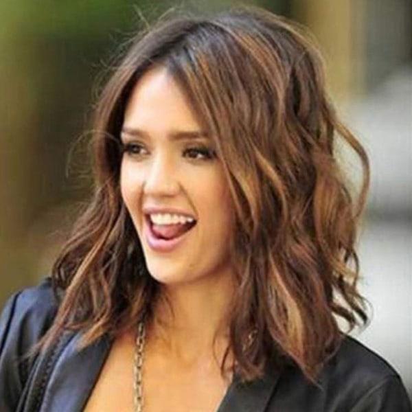 Damer Sexig Gradient Kort lockigt hår säkring peruk andas Gradient