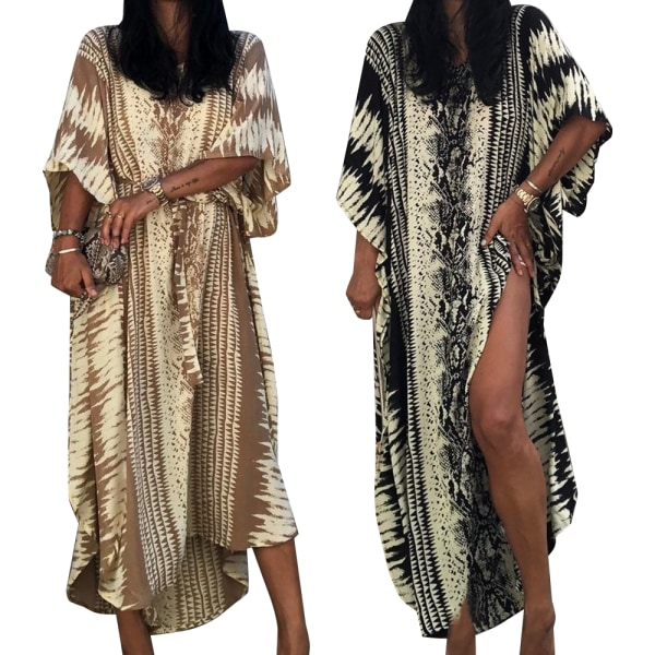 Ladies Snake Print Holiday Gown Straps Slits Beach Long Robe Black One size
