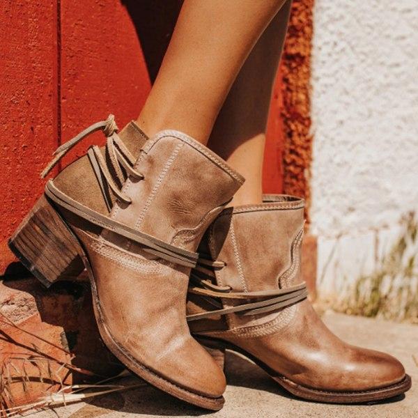 Kvinnor Mid Block Heel Ankle Chunky Warm Boots Snörskor Khaki 40