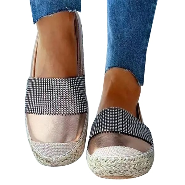 Ladies' Straw Single Shoes Casual Walking Gold 42