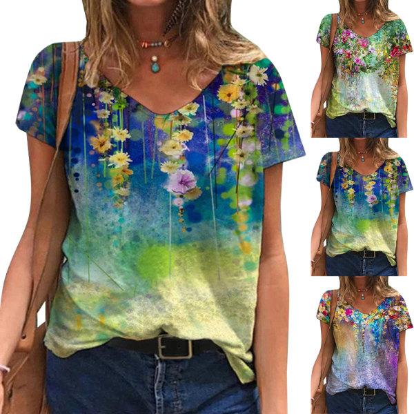 Dam T-shirt med blommönster och blommönster andas och mjukt Purple XL