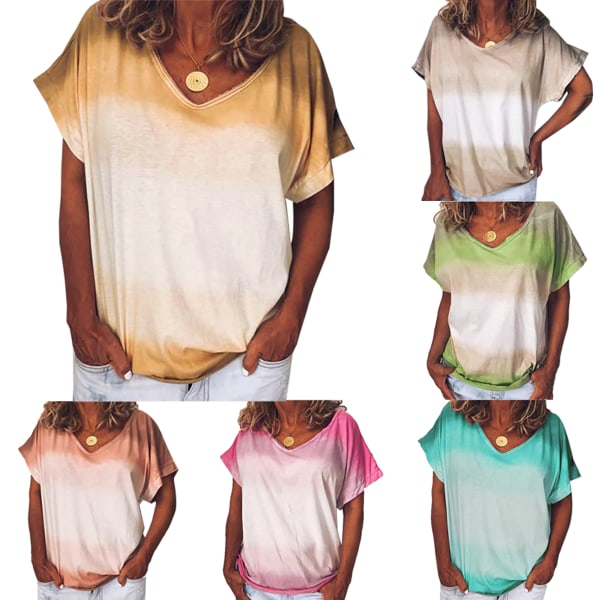 Ladies Summer Tie-dye Gradient Kortärmad andningsbar V-ringning Orange S