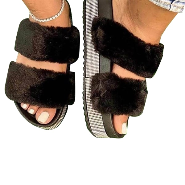 Ladies Thick Bottom Fluffy Slippers Home Shoes Bedroom Black 38