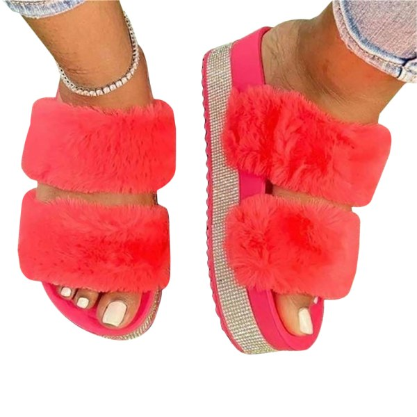 Ladies Thick Bottom Fluffy Slippers Home Shoes Bedroom Red 42