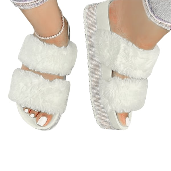 Ladies Thick Bottom Fluffy Slippers Home Shoes Bedroom White 38