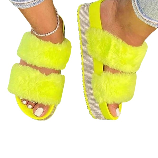 Ladies Thick Bottom Fluffy Slippers Home Shoes Bedroom Yellow 41