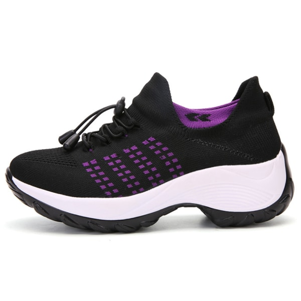 Ladies Thick Sneakers Casual Running Sport Shoes Purple 38