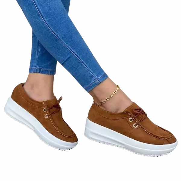 Ladies Thick Sole Sneakers Casual Running Shoes Dark Brown 43