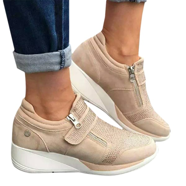 Ladies Thick-Sole Velcro Casual Shoes Walking Shoes Beige 40