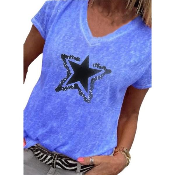 Ladies V-ringad Pentagram Print Stickad kortärmad T-shirt Blue S