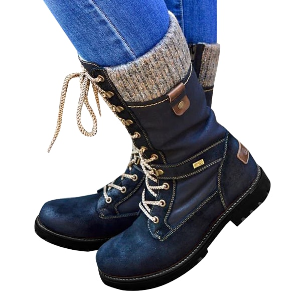 Women Ladies Mid Calf Warm Grip Sole Boots Lace Up Flat Shoes Black 38
