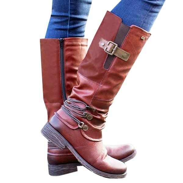 Ladies Knee High Boots Flat Low Heel Biker Riding Zipper Shoes Red 40