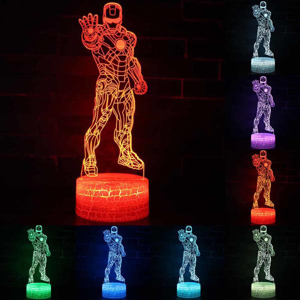 LED-kreativitet nattljus stående Iron Man 3D-belysningspresenter