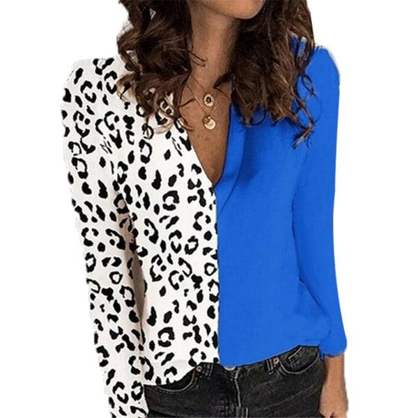 Leopardtryck V-ringning Långärmad T-shirt Chiffon kontorsarbetare