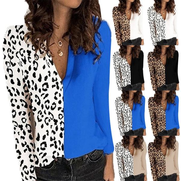 Leopardtryck V-ringning Långärmad T-shirt Chiffon kontorsarbetare White + White Leopard M