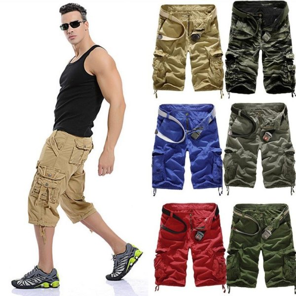 Man Cargo Shorts Military Combat Camo Green 36