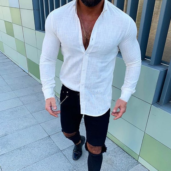 Män Button Up Långärmade Toppar Blus Casual Skjortor Blus White XL
