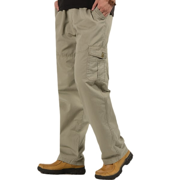 Men Casual Straight Legs Cargo Combat Trousers Outdoor Pants Khaki XL