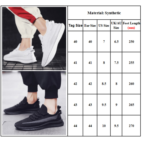 Men Color Block Mesh Lace-up Sneakers Sports Running Non-slip White 40