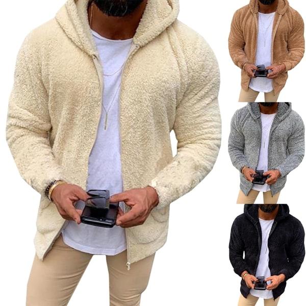 Men Fashion Hoodie Solid Color Velvet Warm Grey 2XL
