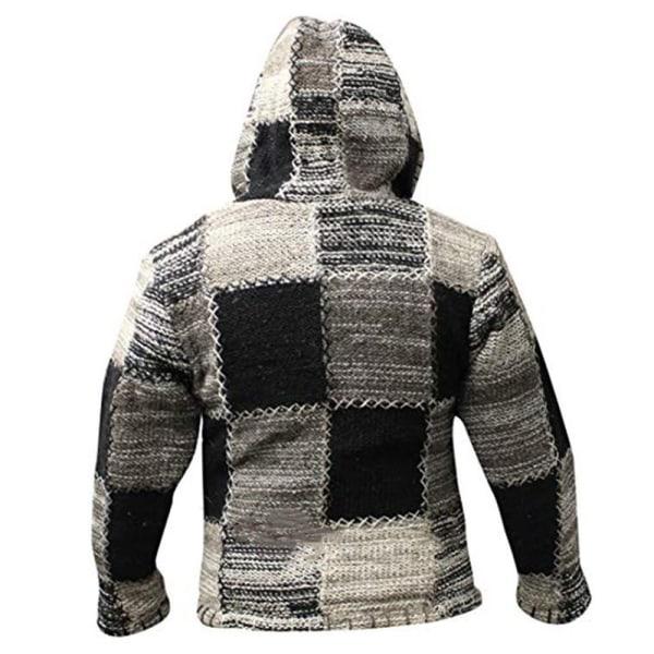 Men Hippie Patchwork Hoodie Fleece Zip Hooded Festival Jacket L