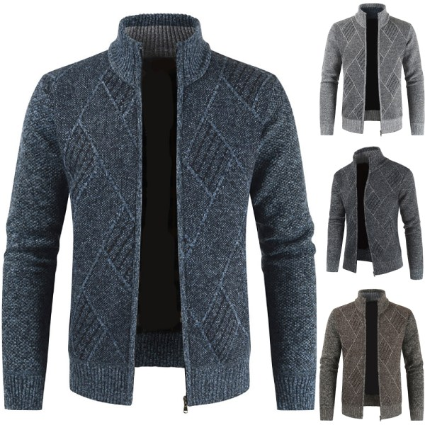 Herr stickad tröja kofta kappa långärmad jacka tröja Light Grey 2XL