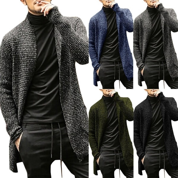 Men Knitted Sweater Long Sleeves Cardigan Thick Knitwear army green 2XL